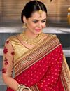 photo of Embroidery Work On Designer Saree In Red Art Silk And Net