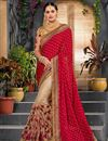 image of Red Art Silk And Net Designer Saree With Embroidery Work