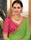 photo of Embroidery Designs On Green Occasion Wear Saree In Art Silk And Net
