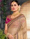 photo of Embroidery Work On Designer Saree In Cream Art Silk And Net