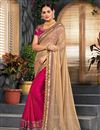 image of Embroidery Work On Designer Saree In Cream Art Silk And Net