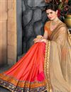 photo of Embroidery Designs On Art Silk And Net Party Wear Saree In Cream