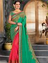 image of Embroidery Work On Green Party Wear Saree In Art Silk And Net