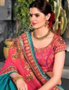 photo of Art Silk And Net Designer Saree In Pink With Embroidery Work