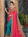 image of Art Silk And Net Designer Saree In Pink With Embroidery Work