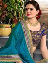 photo of Teal Occasion Wear Saree With Embroidery Designs