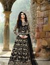 image of Eid Special Net And Georgette Party Wear Embroidered Anarkali Salwar Kameez In Black