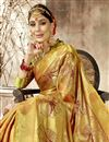 photo of Designer Party Wear Art Silk Fancy Saree In Golden With Weaving Work
