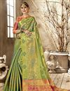 image of Art Silk Fancy Designer Party Style Sea Green Saree With Weaving Work