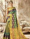 image of Party Wear Fancy Art Silk Designer Weaving Work Saree In Multi Color