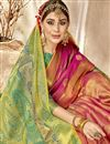photo of Party Wear Peach Designer Weaving Work Art Silk Fancy Saree