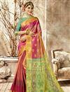 image of Party Wear Peach Designer Weaving Work Art Silk Fancy Saree