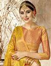 photo of Designer Party Wear Mustard Fancy Saree In Art Silk With Weaving Work
