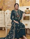 photo of Designer Traditional Wear Teal Color Georgette Fabric Embroidered Palazzo Suit