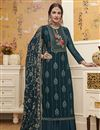 image of Designer Traditional Wear Teal Color Georgette Fabric Embroidered Palazzo Suit