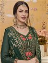 photo of Designer Georgette Fabric Traditional Wear Embroidered Dark Green Color Palazzo Suit