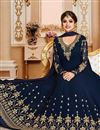 photo of Eid Special Shamita Shetty Long Floor Length Anarkali Suit In Navy Blue Georgette