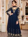 image of Eid Special Shamita Shetty Long Floor Length Anarkali Suit In Navy Blue Georgette