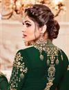 photograph of Eid Special Shamita Shetty Long Anarkali Dress In Dark Green Georgette