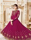 photo of Eid Special Shamita Shetty Burgundy Color Georgette Fancy Long Anarkali Salwar Suit