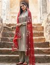 image of Fancy Fabric Trendy Festive Wear Embroidered Cream Straight Cut Suit