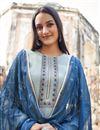 photo of Trendy Festive Wear Fancy Fabric Embroidered Straight Cut Dress In Cyan