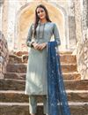 image of Trendy Festive Wear Fancy Fabric Embroidered Straight Cut Dress In Cyan