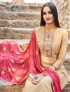 photo of Peach Trendy Festive Wear Fancy Fabric Embroidered Straight Cut Suit
