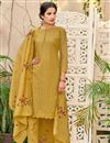 image of Function Wear Mustard Chanderi Fabric Fancy Embroidered Straight Cut Dress