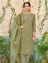 image of Function Wear Fancy Embroidered Chanderi Fabric Green Straight Cut Suit