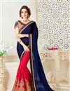 image of Designer Festive Wear Blue And Pink Color Chiffon Saree With Embellished Blouse