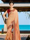 image of Orange Color Embroidered Designer Festive Wear Silk Saree With Unstitched Blouse