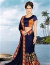 photo of Blue Color Festive Wear Embroidered Saree With Dhupion Unstitched Designer Blouse