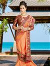photo of Festive Wear Silk Embroidered Orange Color Saree With Designer Unstitched Blouse