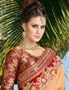 picture of Beautifully Embroidered Festive Wear Designer Silk Saree In Orange Color
