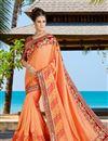 image of Festive Wear Silk Embroidered Orange Color Saree With Designer Unstitched Blouse