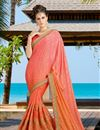 image of Beautifully Embroidered Festive Wear Designer Silk And Jacquard Saree In Orange Color