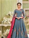 image of Festive Special Floor Length Georgette Embroidered Anarkali Salwar Suit In Grey