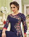 photo of Navy Blue Long Party Wear Anarkali Dress In Georgette With Embroidery Work