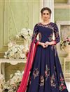 image of Navy Blue Long Party Wear Anarkali Dress In Georgette With Embroidery Work