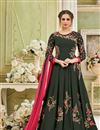 image of Floor Length Embroidered Georgette Anarkali Salwar Kameez In Dark Grey