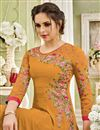 photo of Festive Special Golden Color Long Party Wear Anarkali Dress In Georgette With Embroidery Work