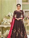 image of Embroidered Designer Floor Length Brown Anarkali Suit In Georgette