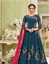 image of Eid Special Festive Special Georgette Long Party Wear Anarkali Dress In Teal With Embroidery Work