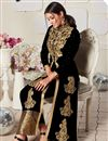 photo of Georgette Fabric Party Wear Anarkali Salwar Suit In Black With Embroidery Work