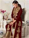 photo of Georgette Fabric Maroon Color Festive Wear Anarkali Salwar Kameez With Embroidery Work