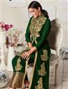 photo of Embroidery Work On Dark Green Georgette Fabric Wedding Wear Anarkali Salwar Suit