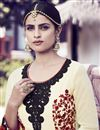 photo of Beige Color Embroidered Georgette Fabric Designer Straight Cut Salwar Kameez