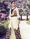image of Beige Color Embroidered Georgette Fabric Designer Straight Cut Salwar Kameez
