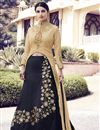 image of Wedding Wear Black Color Santoon Fabric Embroidered Sharara Top Lehenga